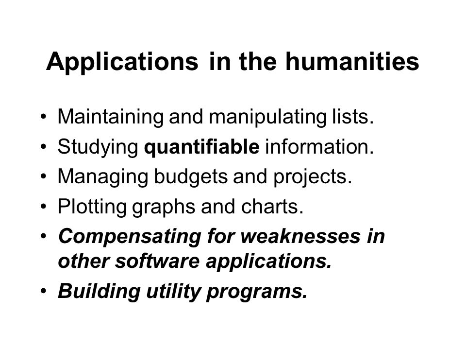 Applications in the humanities Maintaining and manipulating lists.