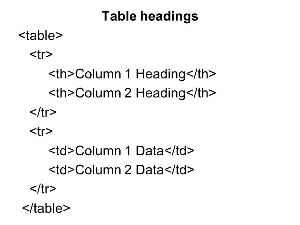 Table headings Column 1 Heading Column 2 Heading Column 1 Data Column 2 Data