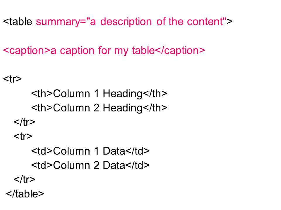 a caption for my table Column 1 Heading Column 2 Heading Column 1 Data Column 2 Data