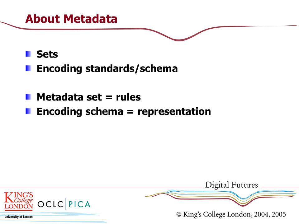About Metadata Sets Encoding standards/schema Metadata set = rules Encoding schema = representation