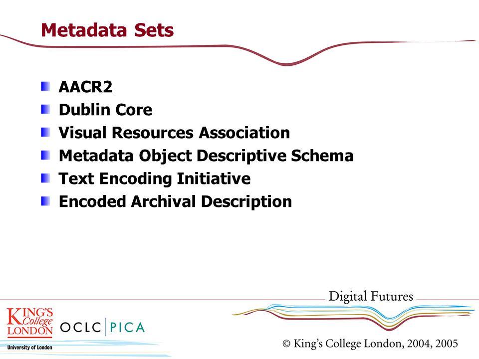 Metadata Sets AACR2 Dublin Core Visual Resources Association Metadata Object Descriptive Schema Text Encoding Initiative Encoded Archival Description