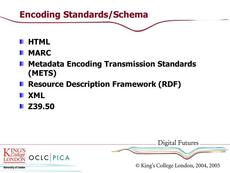 Encoding Standards/Schema HTML MARC Metadata Encoding Transmission Standards (METS) Resource Description Framework (RDF) XML Z39.50