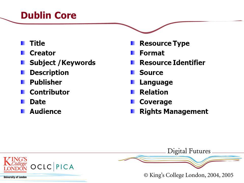 Dublin Core Title Creator Subject /Keywords Description Publisher Contributor Date Audience Resource Type Format Resource Identifier Source Language R