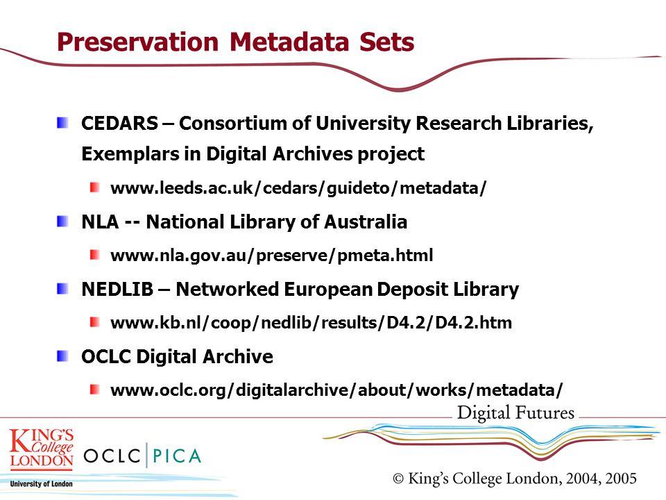 Preservation Metadata Sets CEDARS – Consortium of University Research Libraries, Exemplars in Digital Archives project www.leeds.ac.uk/cedars/guideto/