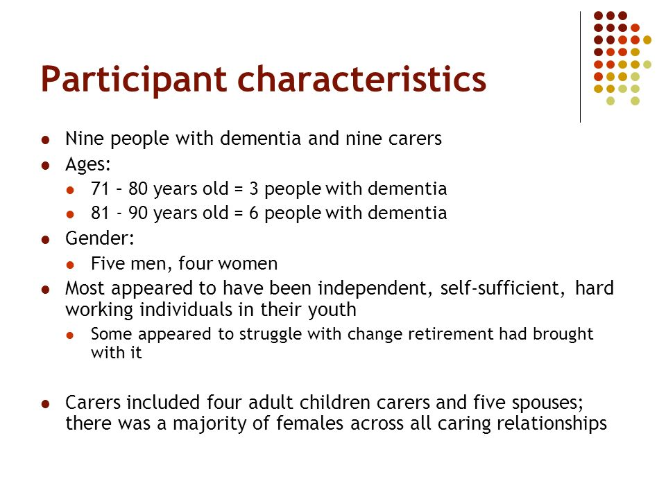 Participant characteristics Nine people with dementia and nine carers Ages: 71 – 80 years old = 3 people with dementia 81 - 90 years old = 6 people with dementia Gender: Five men, four women Most appeared to have been independent, self-sufficient, hard working individuals in their youth Some appeared to struggle with change retirement had brought with it Carers included four adult children carers and five spouses; there was a majority of females across all caring relationships