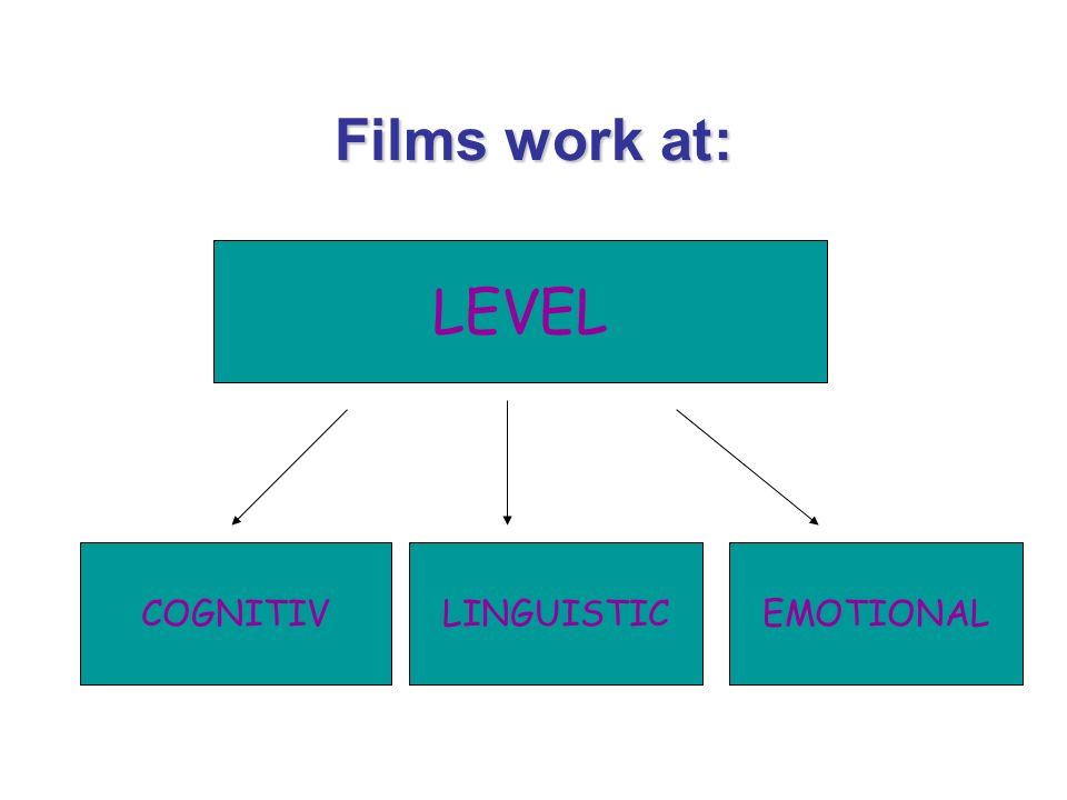 Films work at: LEVEL COGNITIVLINGUISTICEMOTIONAL