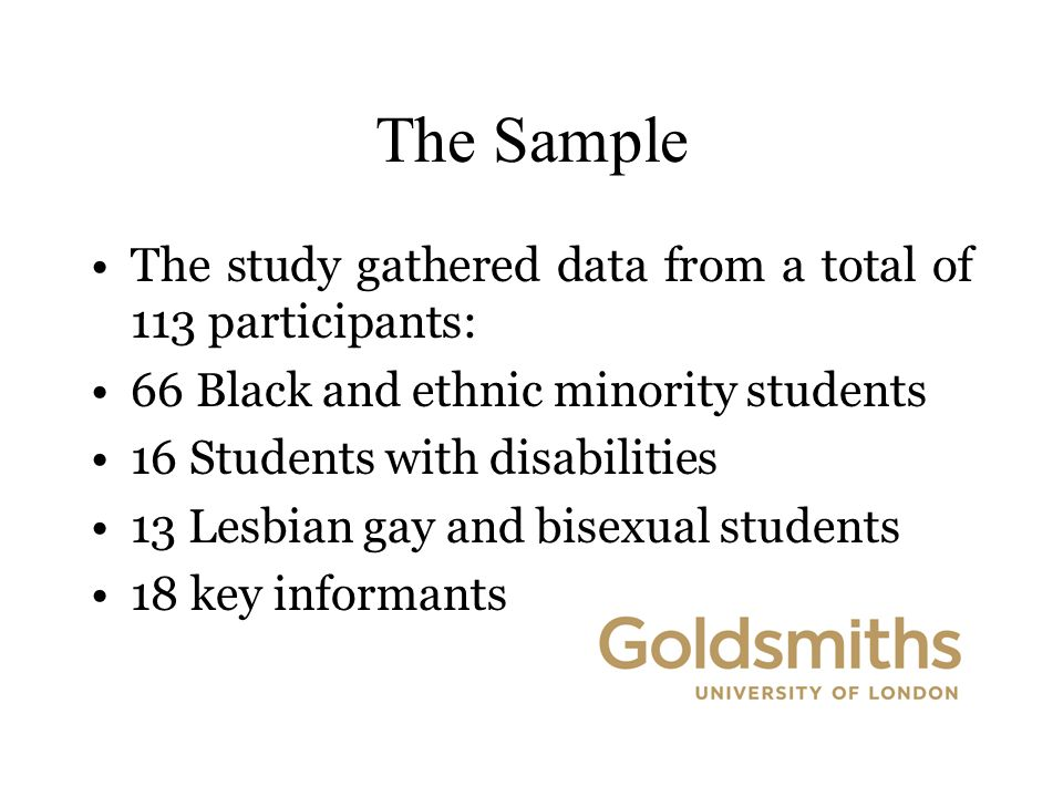 The Sample The study gathered data from a total of 113 participants: 66 Black and ethnic minority students 16 Students with disabilities 13 Lesbian gay and bisexual students 18 key informants