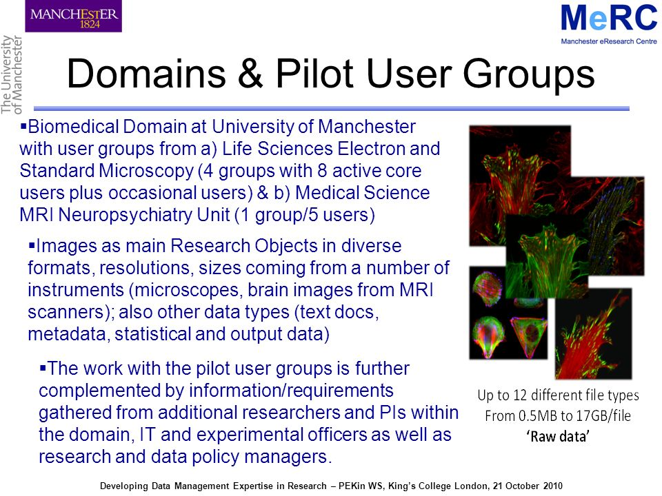 Developing Data Management Expertise in Research – PEKin WS, Kings College London, 21 October 2010 Domains & Pilot User Groups Biomedical Domain at University of Manchester with user groups from a) Life Sciences Electron and Standard Microscopy (4 groups with 8 active core users plus occasional users) & b) Medical Science MRI Neuropsychiatry Unit (1 group/5 users) Images as main Research Objects in diverse formats, resolutions, sizes coming from a number of instruments (microscopes, brain images from MRI scanners); also other data types (text docs, metadata, statistical and output data) The work with the pilot user groups is further complemented by information/requirements gathered from additional researchers and PIs within the domain, IT and experimental officers as well as research and data policy managers.