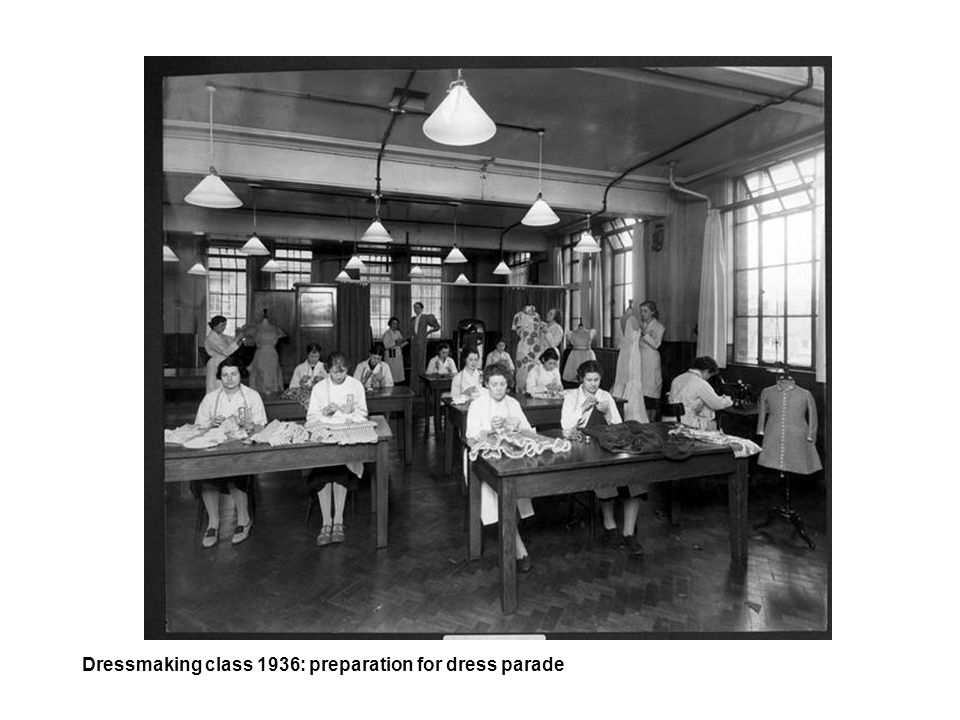 Dressmaking class 1936: preparation for dress parade