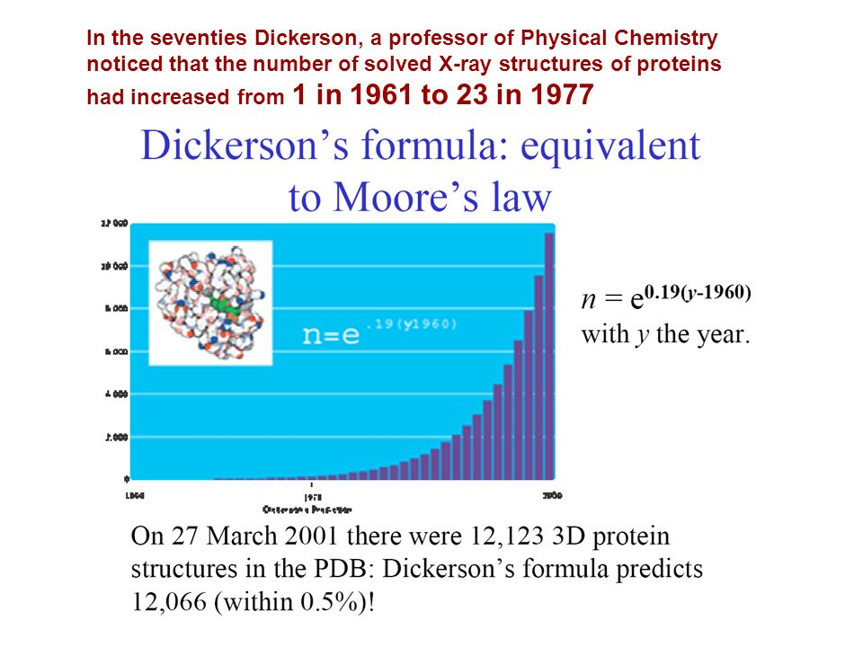 In the seventies Dickerson, a professor of Physical Chemistry noticed that the number of solved X-ray structures of proteins had increased from 1 in 1961 to 23 in 1977