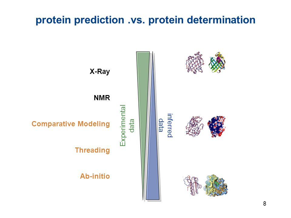8 protein prediction.vs. protein determination Experimental data inferred data X-Ray NMR Comparative Modeling Threading Ab-initio