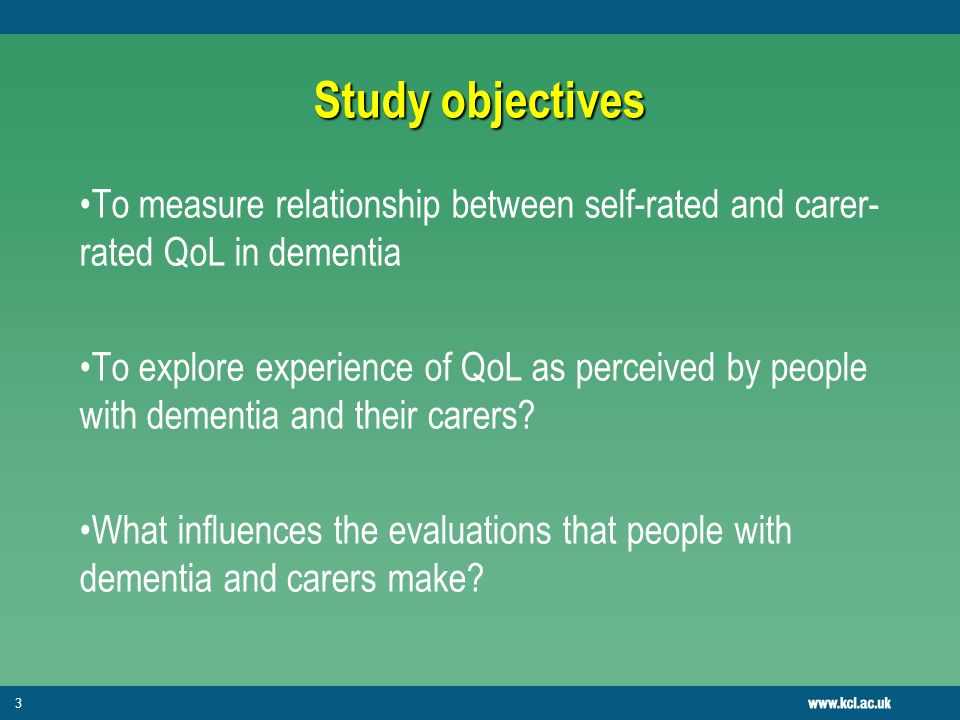 14 Implications Methodological Implications Self-rated and carer-rated QoL often investigated for reliability of account Study 2 highlights the mechanisms by which evaluations are being made and that people with dementia and carers may be using different attributions of change Different techniques to manage change may also influence responses Both perspectives necessary in QoL assessments as they provide holistic view on quality of life Service implications Services for carers will ultimately benefit person with dementia due to carers practical approach to changing situation Psychosocial interventions for people with dementia can sustain good QoL over time