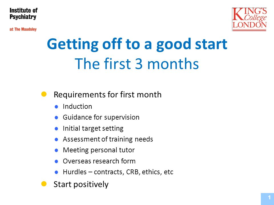 Requirements In the first month after registration Induction - attend College/School event + local orientation Discuss supervision and responsibilities (Guidance for Supervision) Set targets for first 3 months (Initial Target Setting) Complete assessment of learning needs and draw up initial training programme (SkillSet) Meet with personal tutor (Guidance for Personal Tutors) Notify EST of any plans for overseas study (Overseas Research Form) 2 Supervisor s Training Course - September 2010