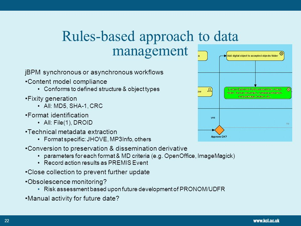 22 Rules-based approach to data management jBPM synchronous or asynchronous workflows Content model compliance Conforms to defined structure & object types Fixity generation All: MD5, SHA-1, CRC Format identification All: File(1), DROID Technical metadata extraction Format specific: JHOVE, MP3Info, others Conversion to preservation & dissemination derivative parameters for each format & MD criteria (e.g.