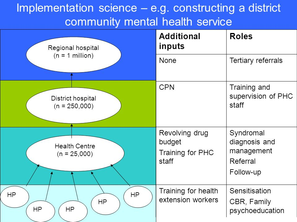 Implementation science – e.g. constructing a district community mental health service District hospital (n = 250,000) Regional hospital (n = 1 million