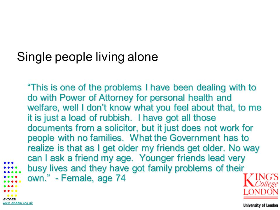Single people living alone This is one of the problems I have been dealing with to do with Power of Attorney for personal health and welfare, well I dont know what you feel about that, to me it is just a load of rubbish.
