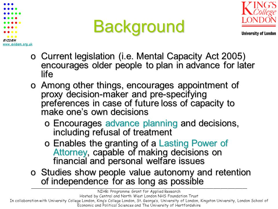 Background oCurrent legislation (i.e.