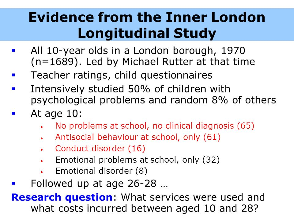 Evidence from the Inner London Longitudinal Study All 10-year olds in a London borough, 1970 (n=1689). Led by Michael Rutter at that time Teacher rati