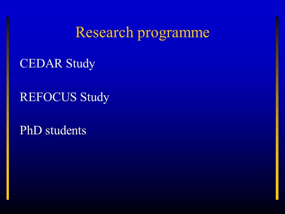 Research programme CEDAR Study REFOCUS Study PhD students