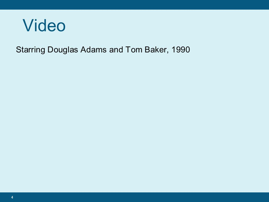 Video Starring Douglas Adams and Tom Baker, 1990 4