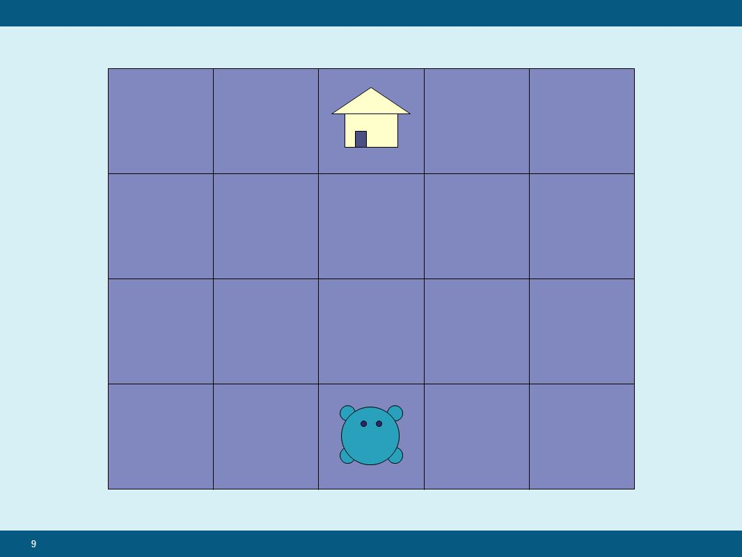 20 While(not home){ If no obstacle, move forward If obstacle, move left If far end of grid, move right }