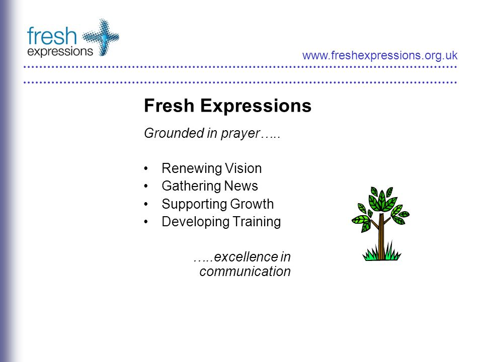 www.freshexpressions.org.uk Fresh Expressions Grounded in prayer…..