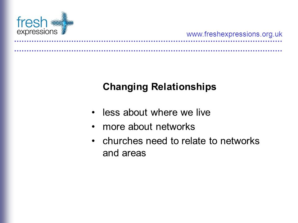 www.freshexpressions.org.uk Changing Relationships less about where we live more about networks churches need to relate to networks and areas