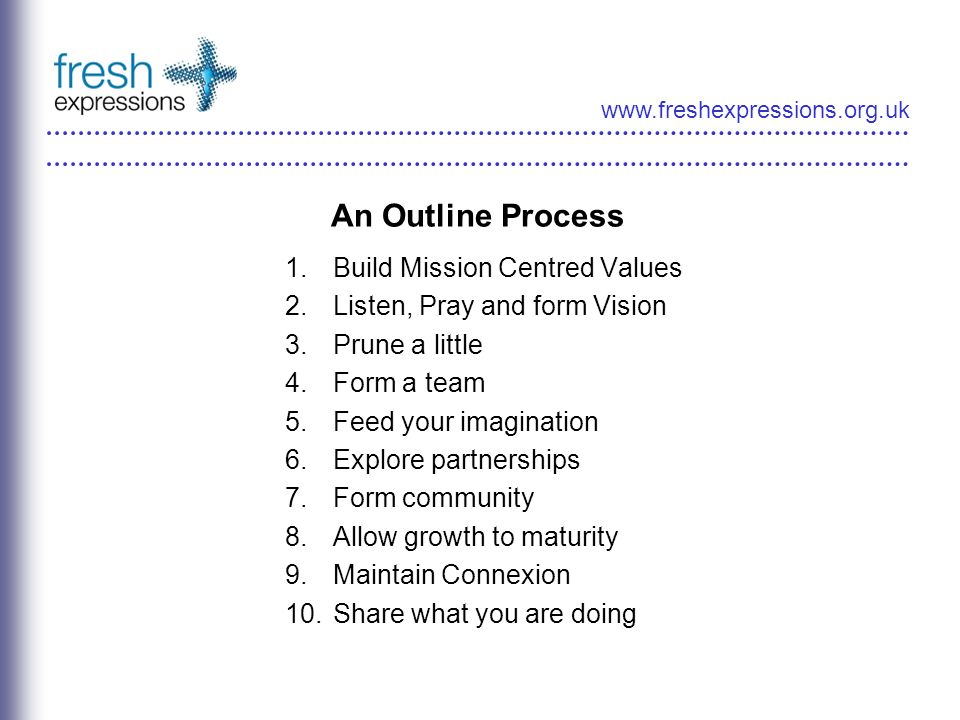 www.freshexpressions.org.uk An Outline Process 1.Build Mission Centred Values 2.Listen, Pray and form Vision 3.Prune a little 4.Form a team 5.Feed your imagination 6.Explore partnerships 7.Form community 8.Allow growth to maturity 9.Maintain Connexion 10.Share what you are doing