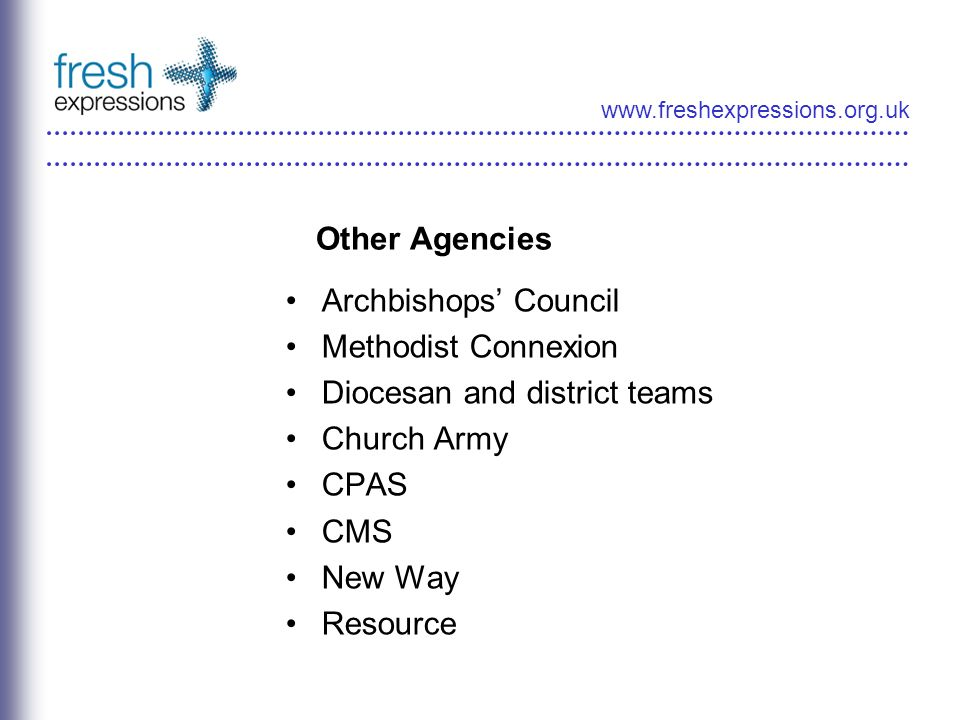 www.freshexpressions.org.uk Other Agencies Archbishops Council Methodist Connexion Diocesan and district teams Church Army CPAS CMS New Way Resource