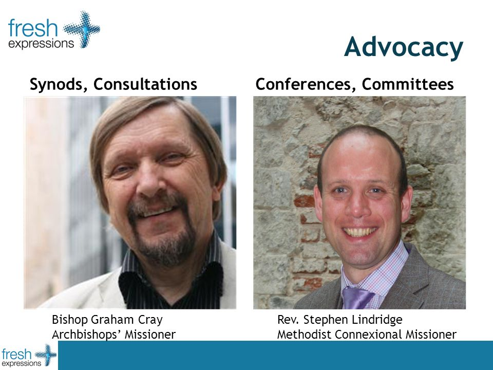 Advocacy Synods, Consultations Conferences, Committees Bishop Graham Cray Archbishops Missioner Rev. Stephen Lindridge Methodist Connexional Missioner