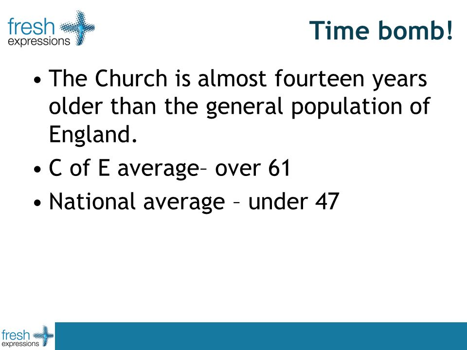 Time bomb. The Church is almost fourteen years older than the general population of England.