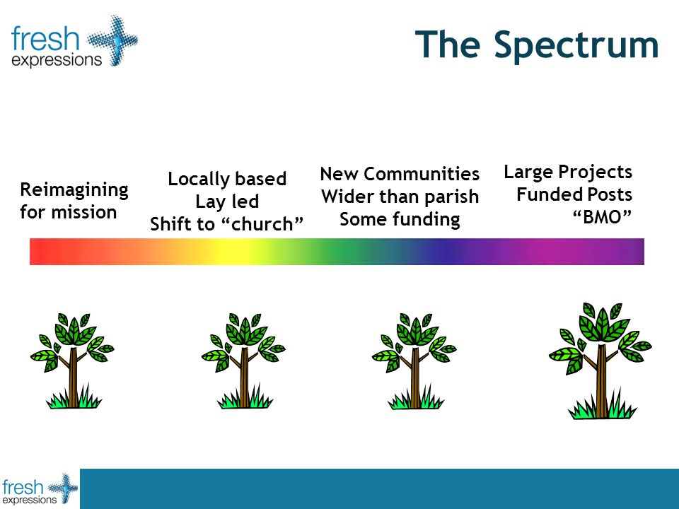 The Spectrum Large Projects Funded Posts BMO Locally based Lay led Shift to church New Communities Wider than parish Some funding Reimagining for mission