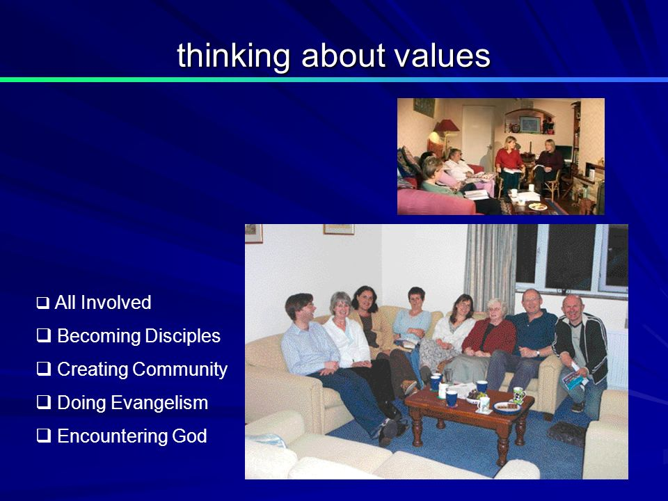 thinking about values All Involved Becoming Disciples Creating Community Doing Evangelism Encountering God