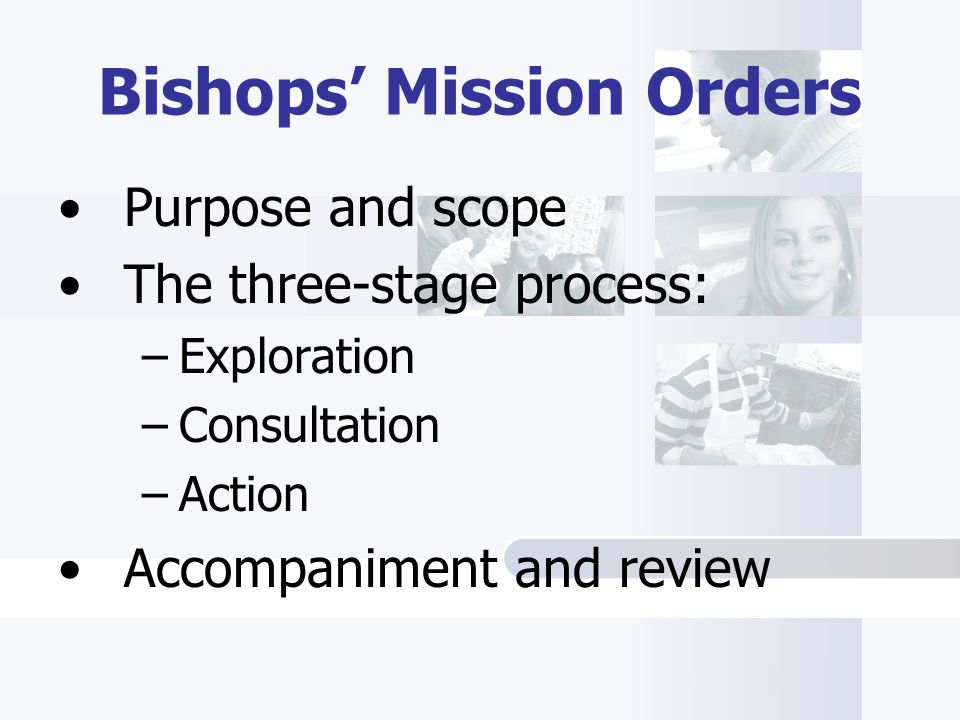 Purpose and scope The three-stage process: –Exploration –Consultation –Action Accompaniment and review