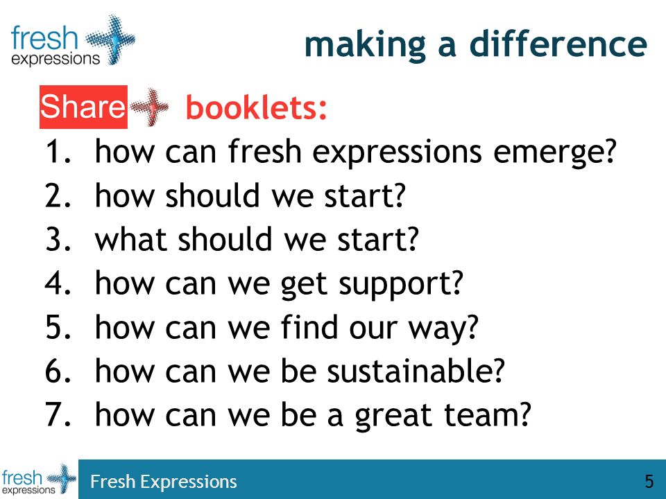 Fresh Expressions5 making a difference booklets: 1.how can fresh expressions emerge.