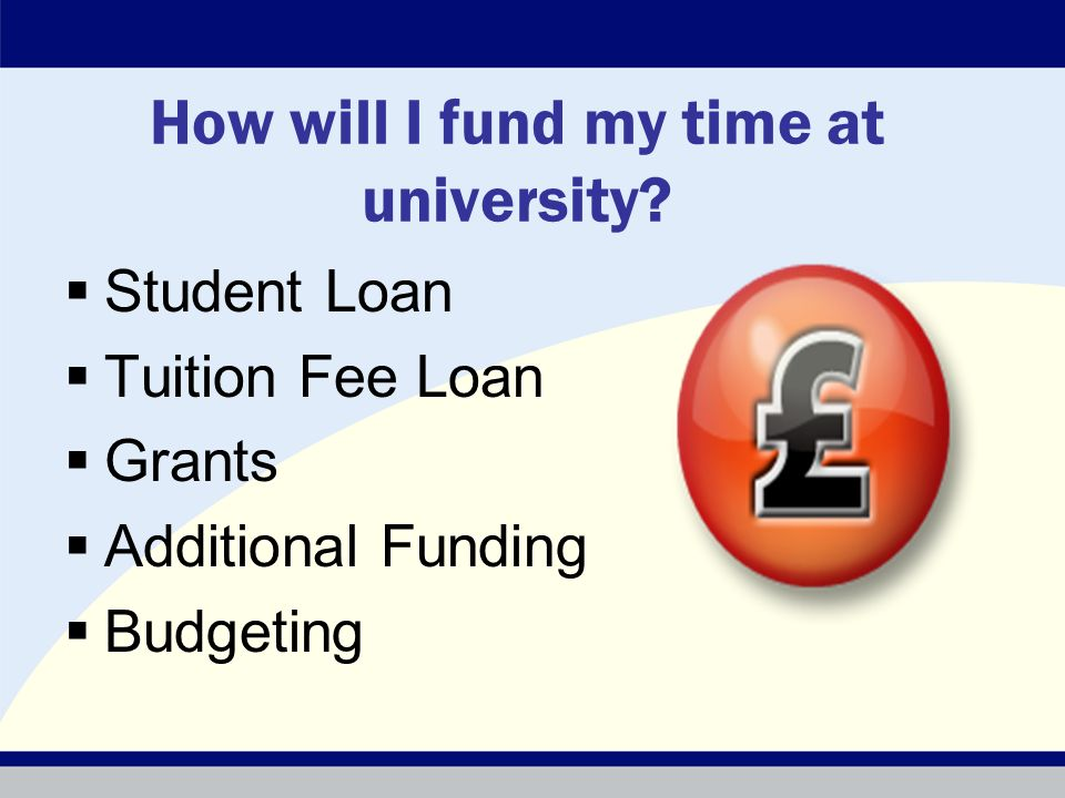 How will I fund my time at university? Student Loan Tuition Fee Loan Grants Additional Funding Budgeting