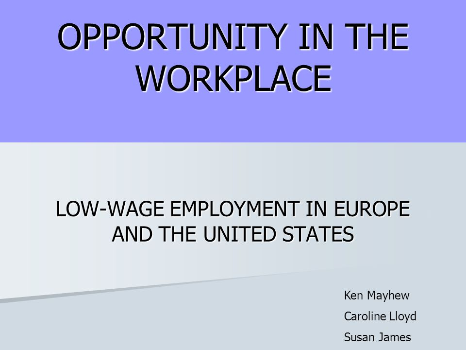 OPPORTUNITY IN THE WORKPLACE LOW-WAGE EMPLOYMENT IN EUROPE AND THE UNITED STATES Ken Mayhew Caroline Lloyd Susan James