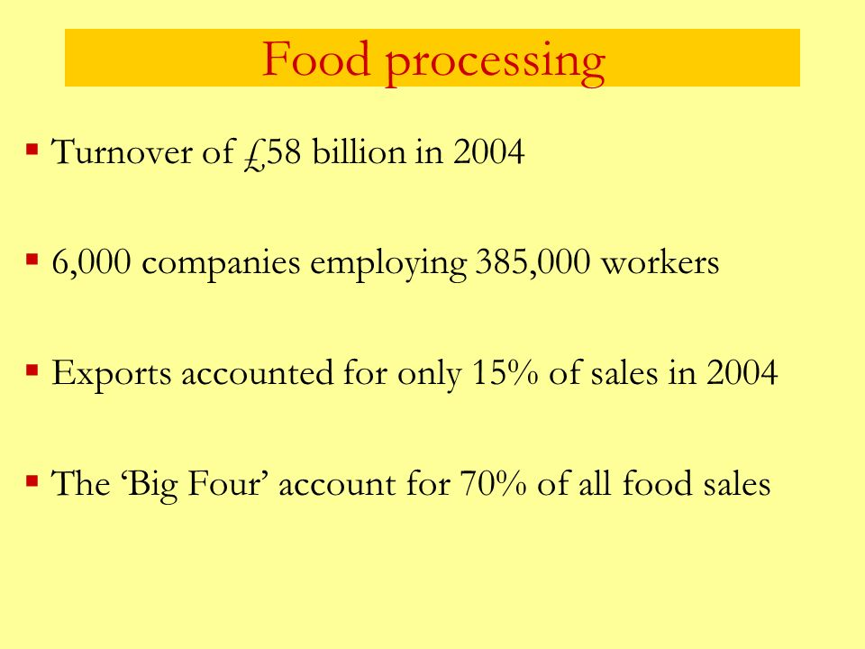 Food processing Turnover of £58 billion in 2004 6,000 companies employing 385,000 workers Exports accounted for only 15% of sales in 2004 The Big Four
