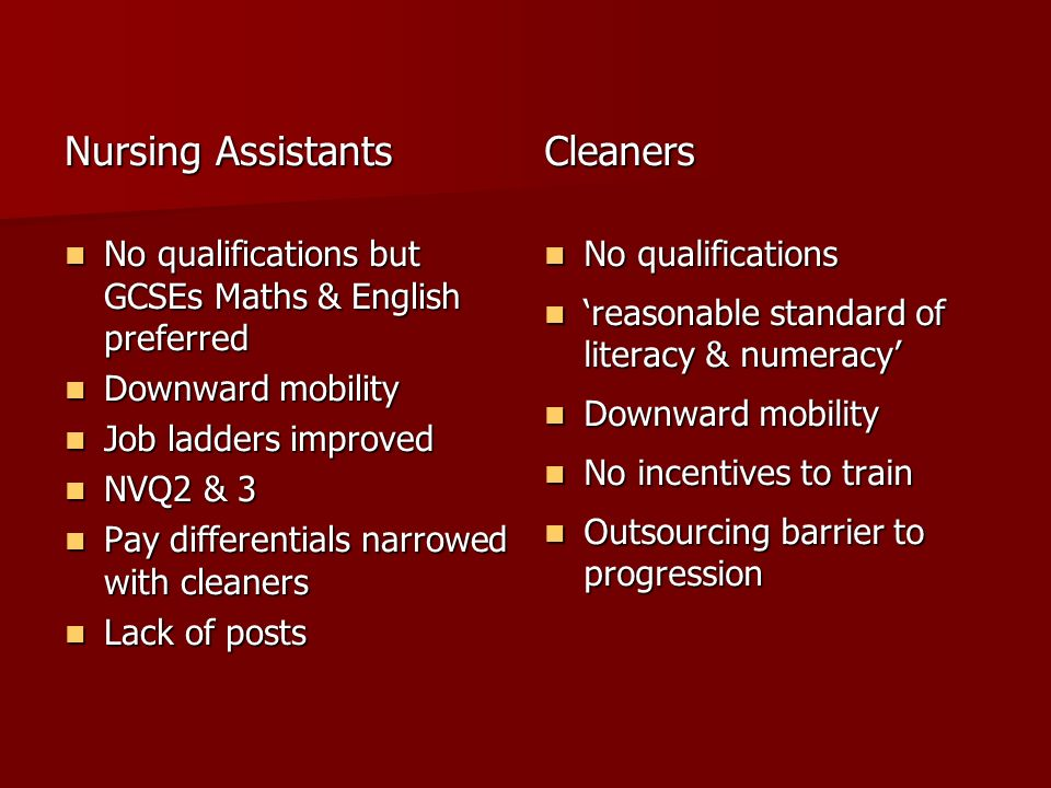Nursing Assistants No qualifications but GCSEs Maths & English preferred No qualifications but GCSEs Maths & English preferred Downward mobility Downward mobility Job ladders improved Job ladders improved NVQ2 & 3 NVQ2 & 3 Pay differentials narrowed with cleaners Pay differentials narrowed with cleaners Lack of posts Lack of postsCleaners No qualifications No qualifications reasonable standard of literacy & numeracy reasonable standard of literacy & numeracy Downward mobility Downward mobility No incentives to train No incentives to train Outsourcing barrier to progression Outsourcing barrier to progression