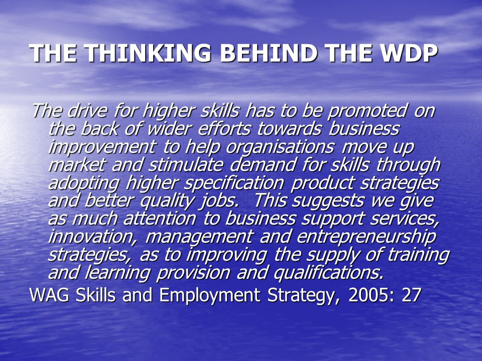 THE THINKING BEHIND THE WDP The drive for higher skills has to be promoted on the back of wider efforts towards business improvement to help organisations move up market and stimulate demand for skills through adopting higher specification product strategies and better quality jobs.