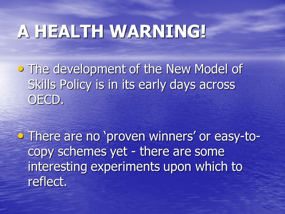 A HEALTH WARNING.