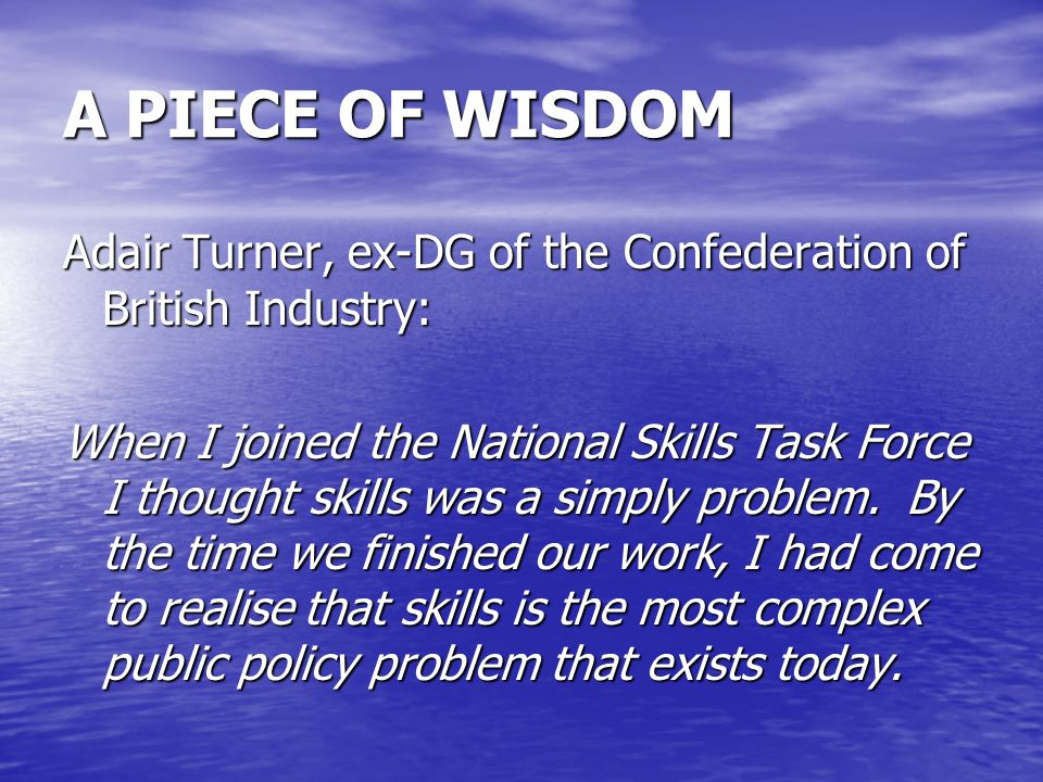 A PIECE OF WISDOM Adair Turner, ex-DG of the Confederation of British Industry: When I joined the National Skills Task Force I thought skills was a si