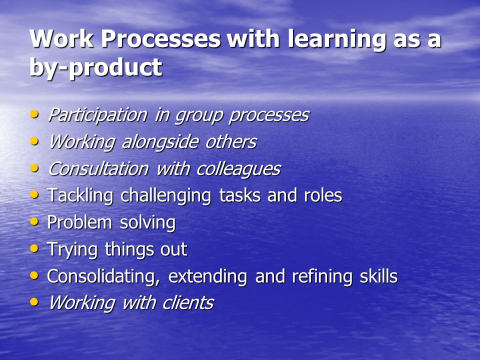 Work Processes with learning as a by-product Participation in group processes Participation in group processes Working alongside others Working alongs