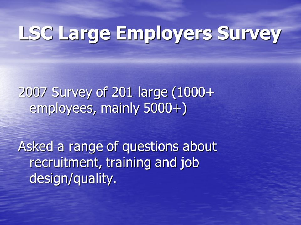 LSC Large Employers Survey 2007 Survey of 201 large (1000+ employees, mainly 5000+) Asked a range of questions about recruitment, training and job des
