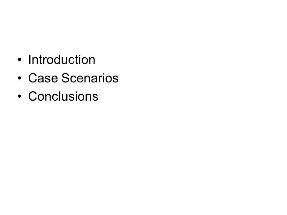 Introduction Case Scenarios Conclusions