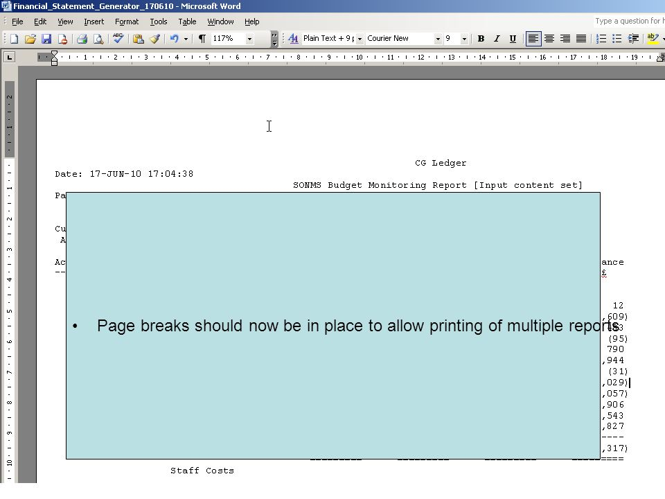 Page breaks should now be in place to allow printing of multiple reports