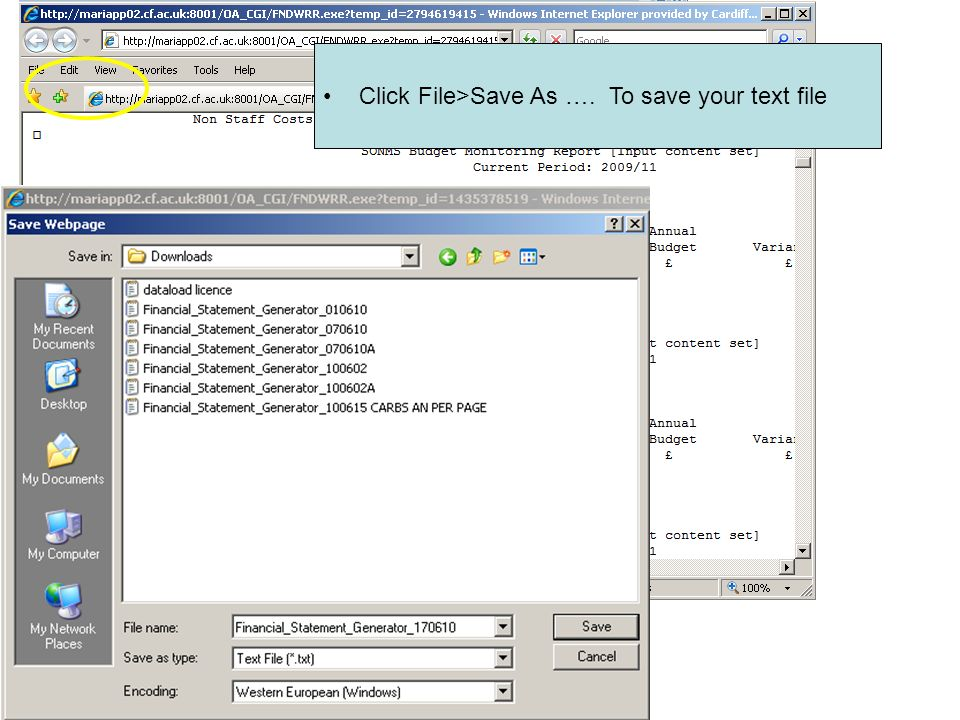 Click File>Save As …. To save your text file