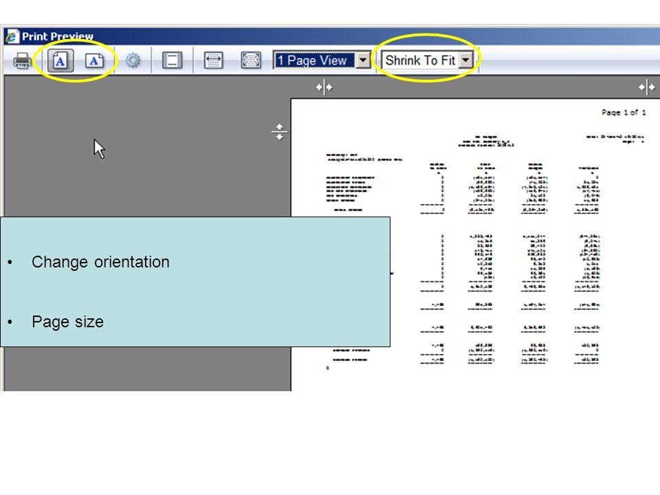 Change orientation Page size