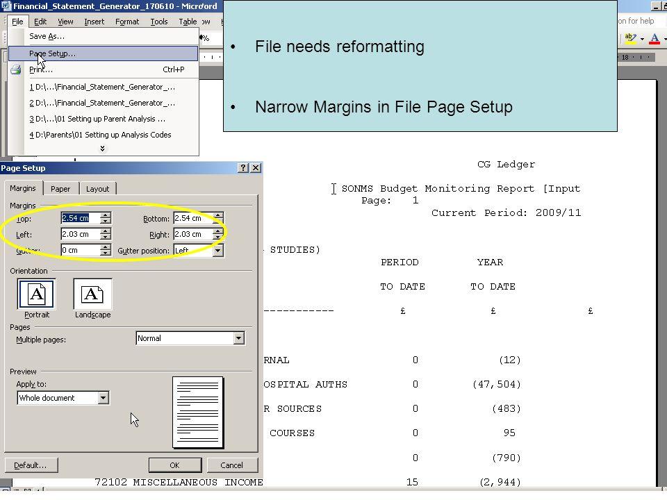 File needs reformatting Narrow Margins in File Page Setup