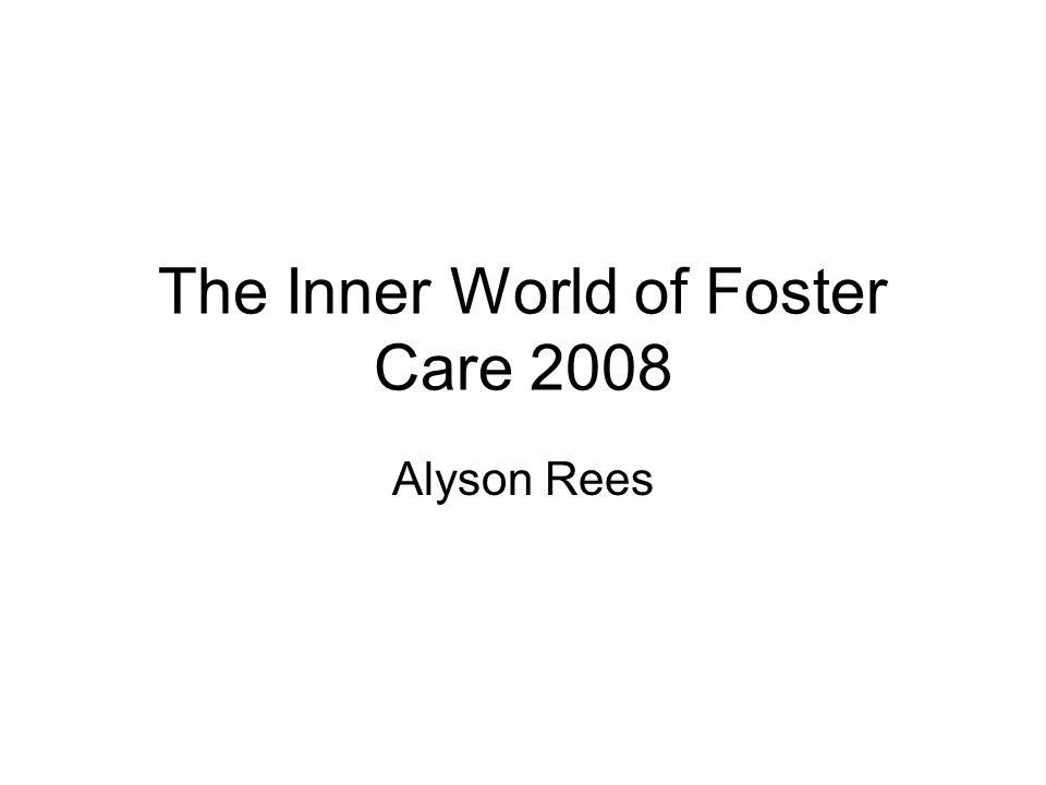 The Inner World of Foster Care 2008 Alyson Rees
